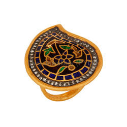 Silver Gold Plated Kundan Meena Enamel Ring Jewelry