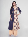 Cotton Manipuri Printed Blue A Line Kurti, Size: Xl