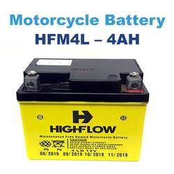 Highflow 12v HFM4L- 4AH Motorcycle Battery, Warranty: 18 Months, Capacity: 4 Ah