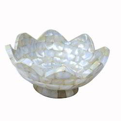 White Mother Off Pearl Big Flower Shape Dry Fruit Bowl