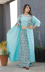 Ladies Designer Kurtis With Shrug And Skirt