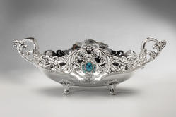 Silver Plated Fruit Basket with Blue Stone Big Size-FB1007B