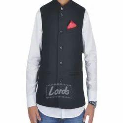 Black Sleeveless Nehru Jacket