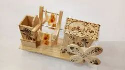 Wooden Color Wooden Pen Stand (ferry Wheel)