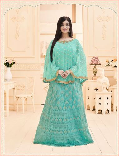 Georgette Embroidered Sea Green Kitty Party Wear Suits