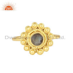 Natural Labradorite Gemstone Round Design Gold Plated Silver Rings