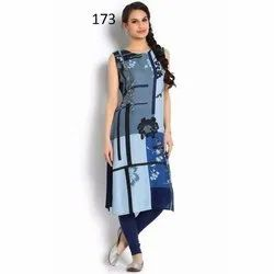 Casual Wear Sleeveless Digital Printed Kurti