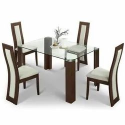 Wooden Glass Dining Table Set, 1 Table, 4 Chairs, Size/Dimension: 4 Feet (table Length)