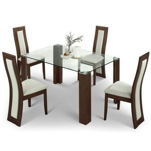 Wooden Glass Dining Table Set 1 Table 4 Chairs Size Dimension 4 Feet Table Length Rs 20000 Set Id 21573099488