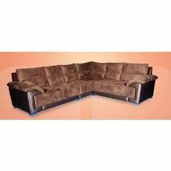 Wood Leather L Shape Sofa Set, Warranty: 5 Years