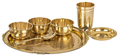 Golden Brass Indian Art Villa Embossed Designer Dinner Thali Set,Pack of 7 Pieces, Size: 0.5'  X 11.5' (inch)
