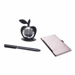 Card Holder Black Color, Apple Table Watch and Pen Set