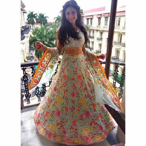 ffa7844b288033 Net Party Wear Designer Floral Embroidered Mirror Work Lehenga Choli ...