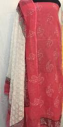 Formal Wear Block Printed Kota Plain Dress With Kota Dupatta