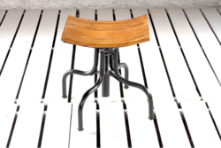 Adjustable Draftsman Scroll Cafe Stool With Curve Seat