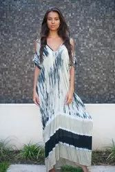 Tie Dye Cold Shoulder Kaftan