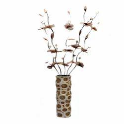 Off White And Golden Vase