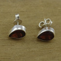 Indian Garnet Gemstone Silver Handmade Jewelry Stud Earring