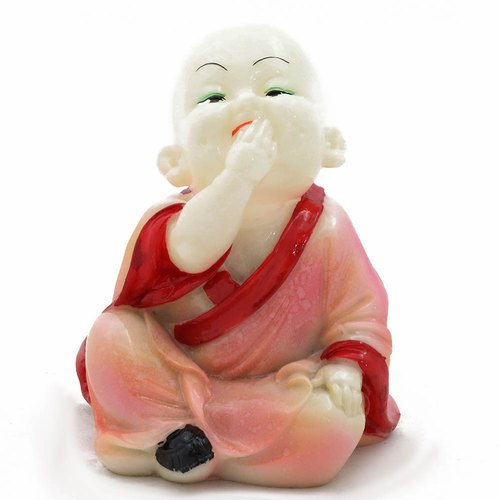 Fine Carved Pink Resin Cast Buddha Baby Laughing