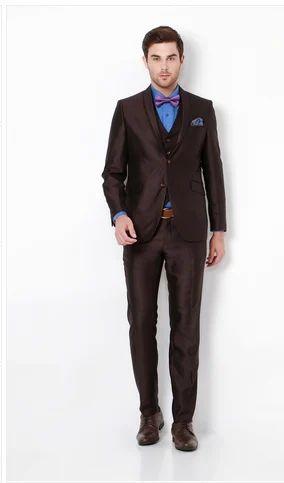 00e10f4f566 75% Terylene And 25% Rayon Van Heusen Brown Three Piece Suit