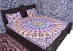 White Peacock Mandala Duvet Cover
