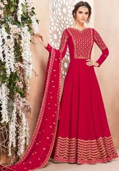 Hot Pink Heavy Anarkali With Georgette Dupatta