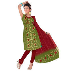 Green Fancy Print Bandhani Suit