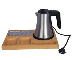Electric Kettle With Wooden Tray Set