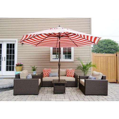 Pink And White Patio Umbrella