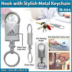 Hook With Stylus Metal Keychain H-524