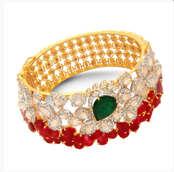 Yellow Gold And White Gold D.Color Stone Bangles JRPM-BNCS72-36