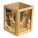 Wood Four Side Painting Pen Holder