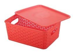 Plastic Storage Basket With Lid