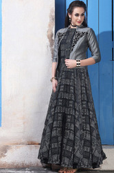 UK Bridal Gowns Wear Based Grey With Soft Chanderi Cotton Semi Stitched Festival wear Casual Gown