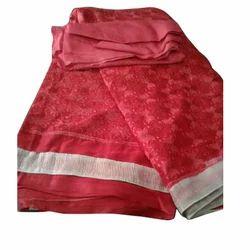 Ladies Chiffon Red Casual Saree, Length: 6.3 m