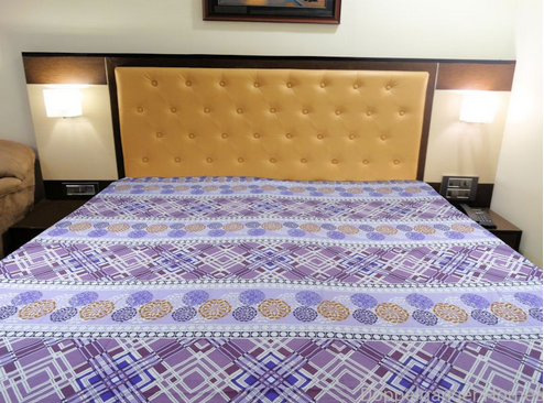 Delightful Fine Cotton Multi Color Printed Customized Fitted Double Bedsheet With 2  Pillow Covers