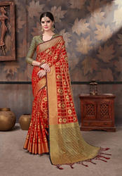 d13c34d92a38c Designer Cotton Silk Saree with Blouse Piece