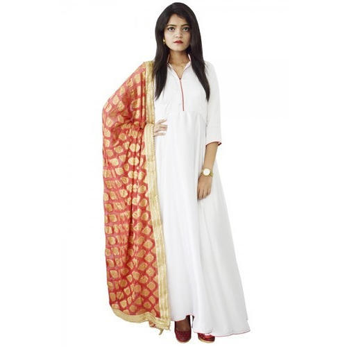 fdc967eef1 Satin White Anarkali Suit, Size: S, M & L, Rs 3600 /piece | ID ...