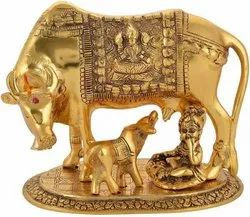 Gold Plated Cow And Calf With Laddu Gopal
