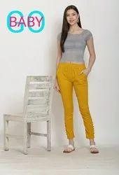 Cotton Plain Yellow Potli Pants