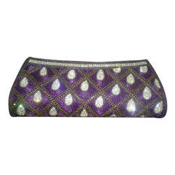 Purple Embroidered Ladies Clutch Bags