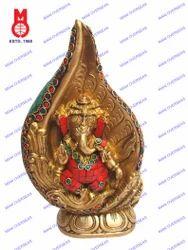 Lord Ganesh Dancing Shankh W/Stone Work Statues