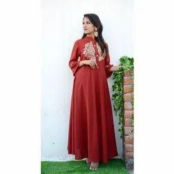 Ladies Designer Red Gown