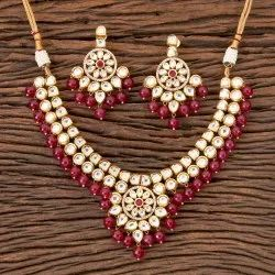 Kundan Fusion Necklace with Gold Plating 300334, Occasion: Wedding