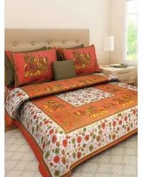 Orange Jaipuri Double Bedsheet