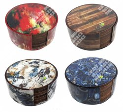 MDF Printed Coasters Round (6 Pcs Set)
