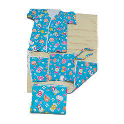 Blue Cotton New Born Baby Dress