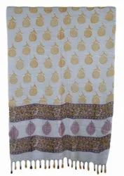 Floral Hand Block Print With Pompom 22x72 Inches Scarf Stole