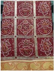 Maroon Chunari Printed Rosy Silk Saree