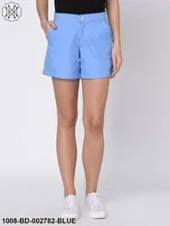 Blue Twill Shorts For Women